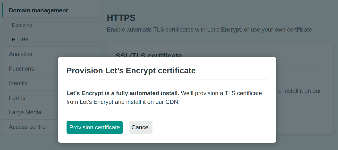 Netlify Site Settings Domain Management HTTPS Certificate Confirm
