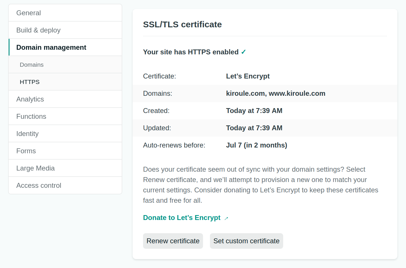 Netlify Site Settings Domain Management HTTPS Enabled